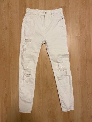Pull & Bear Jeansy z wysokim stanem biały