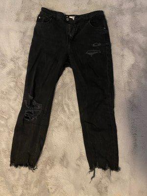 Bershka Jeansy z prostymi nogawkami czarny