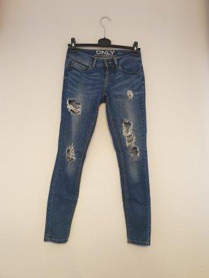 Only One Pantalon taille basse bleu-bleu acier tissu mixte