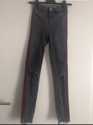 Ripped Jeans Jeggings grau mit roten Streifen Zara Gr.  28