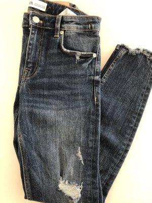 Zara Jeans a vita alta blu scuro-bianco
