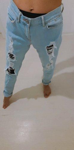 Dittos Jeans boyfriend blanc-bleu azur