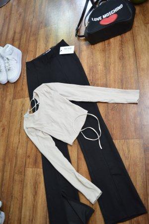 Rippen Cropped Langarm Shirt hinten Schnürung Gr. 36 Jeans Industry