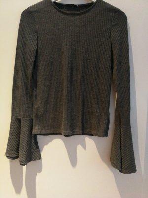 Zara Basic Camisa acanalada gris