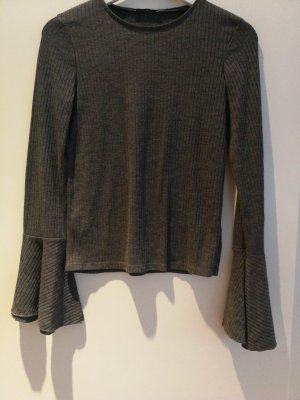 Zara Basic Geribd shirt grijs