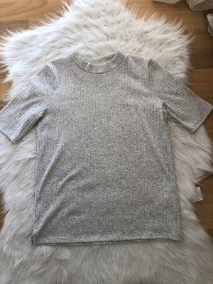 H&M Ribbed Shirt light grey-white
