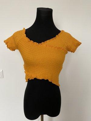 Pimkie Prążkowana koszulka złotopomarańczowy Bawełna