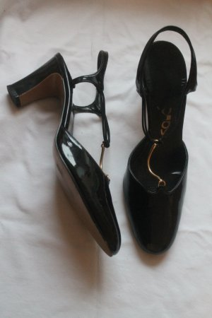 T-Strap Pumps black-gold-colored
