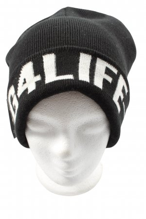 River Island Beanie black-white printed lettering casual look
