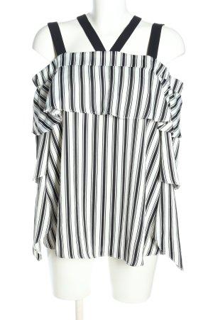River Island Carmen-Bluse schwarz-weiß Streifenmuster Casual-Look