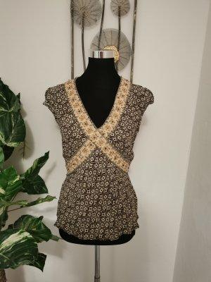 River Island Damen Crepe Blusentop Shirt Boho Hippie braun Größe 38