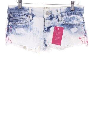 River Island Hot Pants weiß-blau Washed-Optik