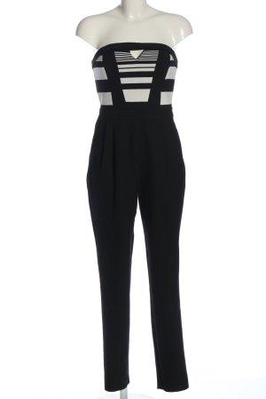 River Island Jumpsuit schwarz-wollweiß Streifenmuster Casual-Look
