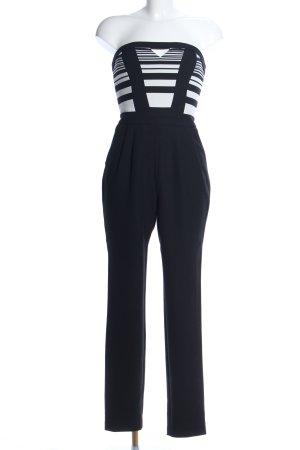 River Island Jumpsuit schwarz-weiß Streifenmuster Elegant
