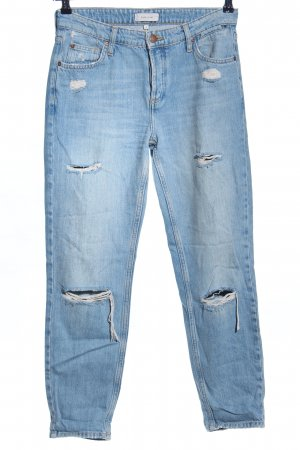 River Island Karottenjeans blau Used-Optik