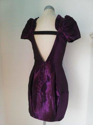 River Island Kleid metalic lila Minikleid rückenfrei Gr. UK 8 34 36 Abiball
