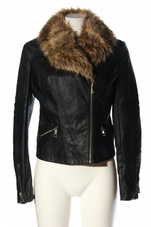 River Island Faux Leather Jacket black-brown casual look