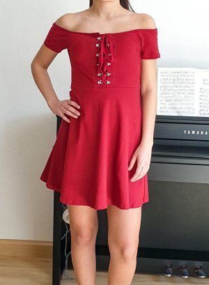 River Island Off shoulder dress Schulterfreies Kleid Midikleid  cocktailkleid Sommerkleid rot beere