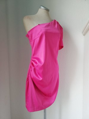 River Island Party Kleid satin pink oneshoulder kurzarm Minikleid gerafft Gr. UK 12 EUR 38