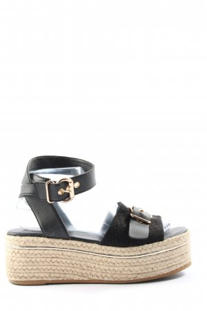 River Island Plateau-Sandalen schwarz-creme Animalmuster Casual-Look