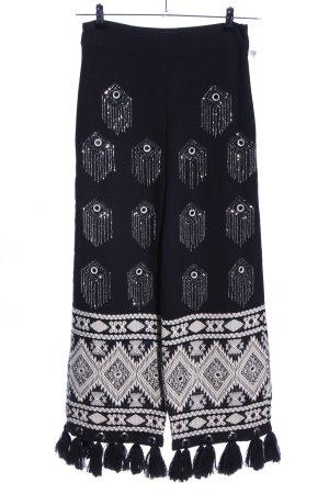 River Island Pantalone jersey nero-bianco motivo grafico stile casual