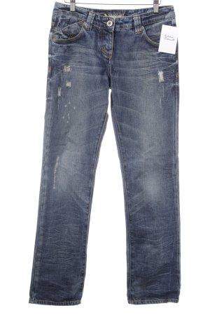 River Island Straight-Leg Jeans kornblumenblau Destroy-Optik