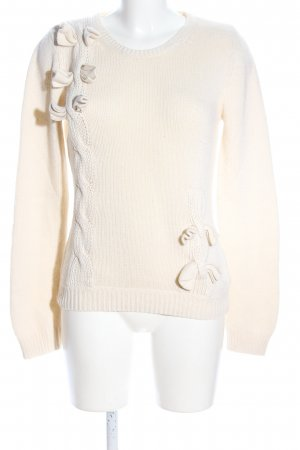 River Island Strickpullover creme Zopfmuster Casual-Look