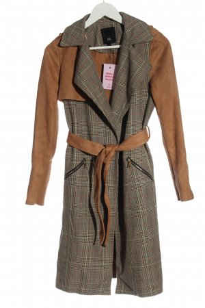 River Island Between-Seasons-Coat brown-light grey check pattern casual look
