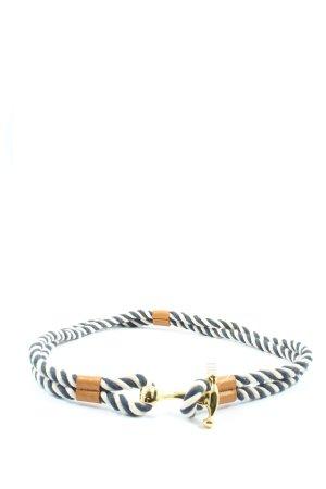 RLL Cinturón de lona azul-blanco estampado a rayas estilo fiesta
