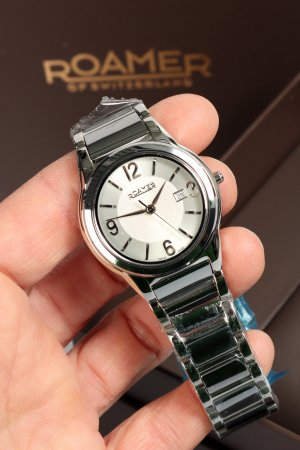 Reloj analógico color plata-blanco metal