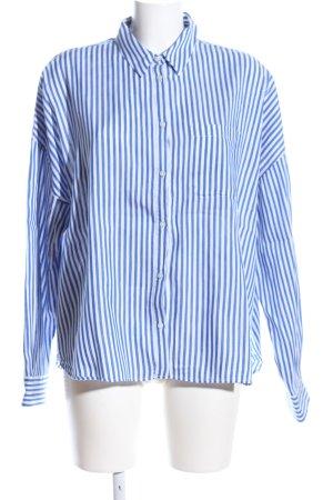 Robert Friedman Oversized Bluse blau-weiß Allover-Druck Business-Look
