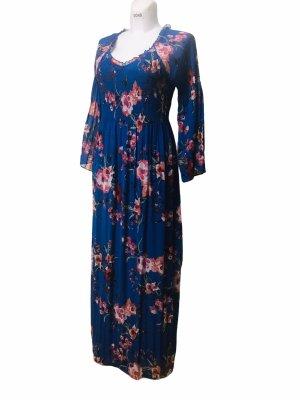 Robert Louis Damen Kleid Blau Blumen lang M