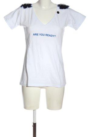 Roberta Biagi T-shirt col en V blanc-bleu lettrage imprimé style décontracté
