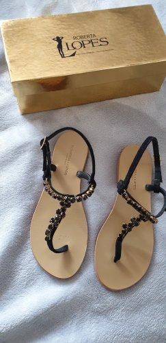Roberta Scarpa High-Heeled Toe-Post Sandals multicolored
