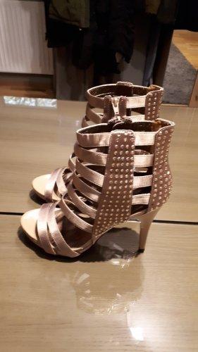 Buty z krótką cholewką na platformie jasnobrązowy-beżowy Skóra