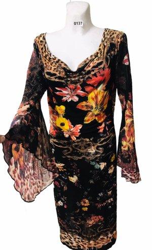 Roberto Cavalli Damen Kleid Glocken Ärmel schwarz Bunt Blumen L