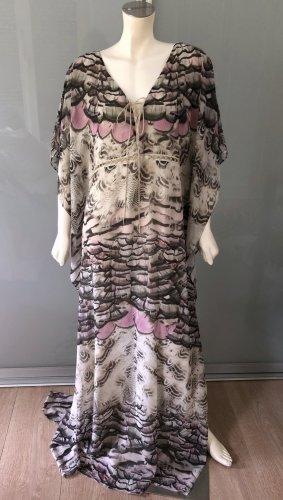 Roberto Cavalli Kaftan Maxi Kleid Grau Rosa Seide Leder 40 M-L Caftan Dress Silk