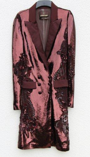 Roberto Cavalli Gabardina tipo vestido burdeos-rojo zarzamora tejido mezclado