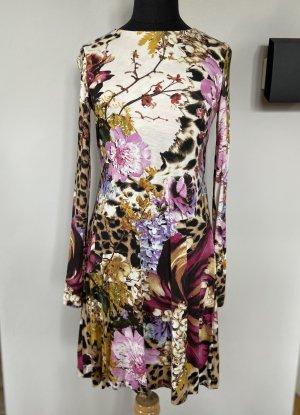 Roberto Cavalli Midi Kleid mit Blumen Muster