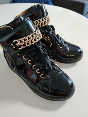 Roberto Cavalli Wedge Sneaker black-gold-colored leather