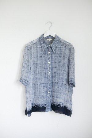Roberto Cavalli Chemise à manches courtes bleu foncé-blanc soie