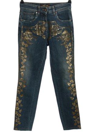 Roberto Cavalli Jeans a gamba dritta blu-oro motivo floreale stile casual