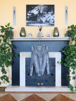 Roberto Cavalli Cardigan in maglia nero-bianco Seta