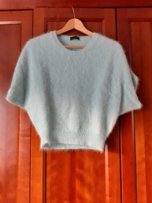 Roberto Collina Short Sleeve Sweater pale green-mint angora wool