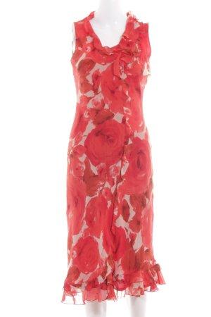 Roberto Verino A-Linien Kleid rot-wollweiß Blumenmuster Elegant