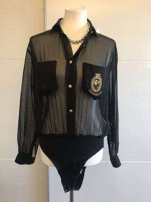 Rocco Barocco Bodysuit Blouse black-gold-colored
