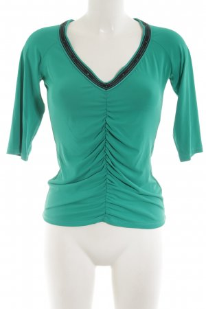Rocco Barocco V-Neck Shirt turquoise-black casual look