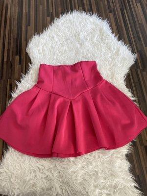 Jupe évasée rouge framboise-magenta