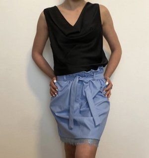 Made in Italy Faux Leather Skirt light blue