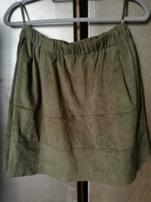 Only Faux Leather Skirt olive green-khaki